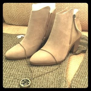 Taupe Colored Combination Booties